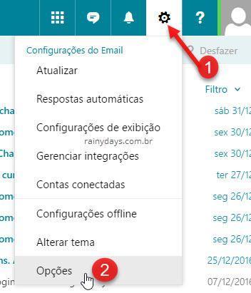 ícone de engrenagem opções do Outlook