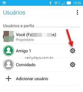 ícone engrenagem usuário Android