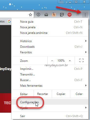 ícone três bolinhas Chrome Configurações