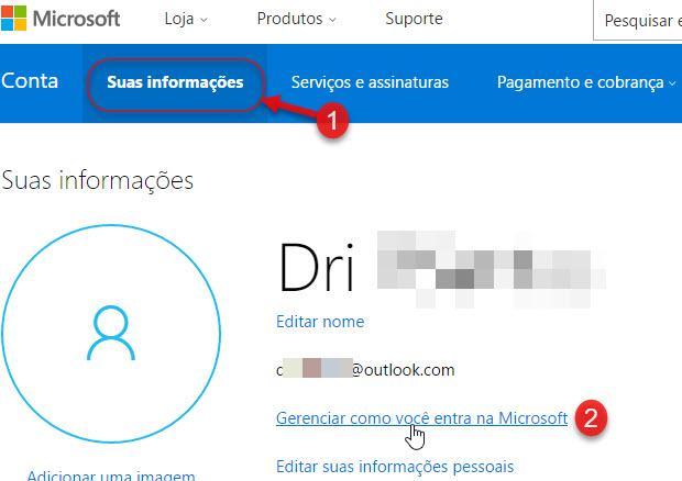Informações Gerenciar como você entra na Microsoft