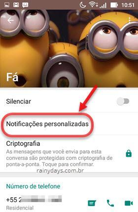 notificações personalizadas no WhatsApp