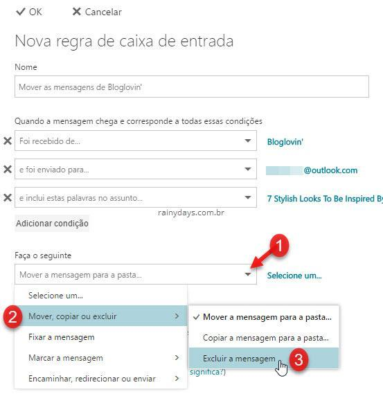 Nova regra caixa de entrada do Outlook