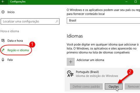 opções de idioma no Windows 10