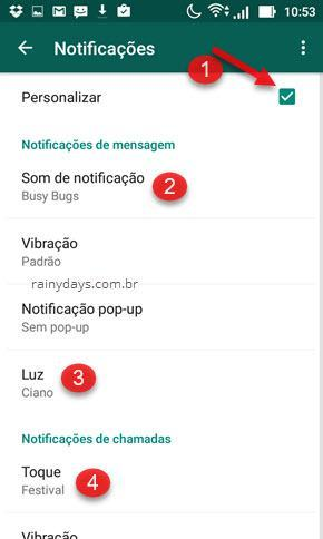 Personalizar som das notificações do WhatsApp
