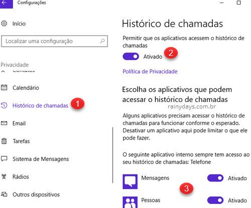 Privacidade Histórico de Chamadas Windows