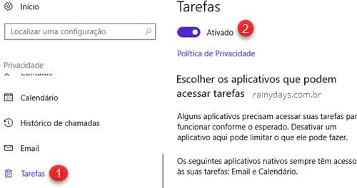 Privacidade Tarefas Windows