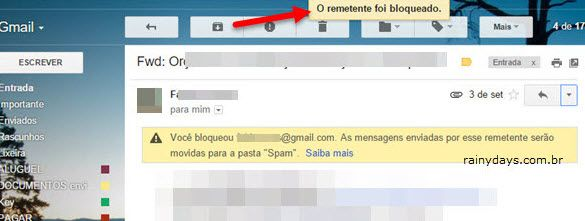 remetente bloqueado no Gmail