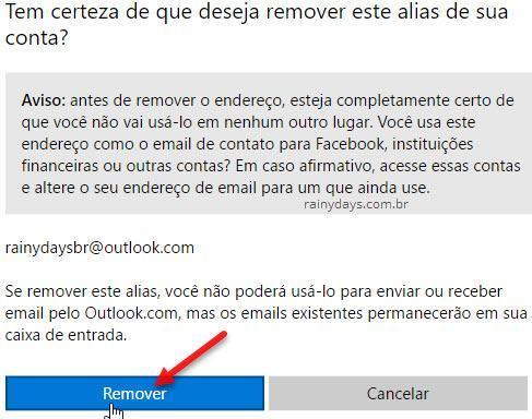Remover alias da conta Microsoft