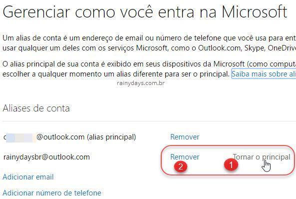 remover alias ou tornar principal Outlook