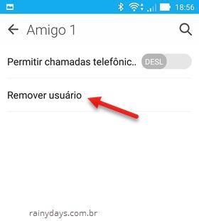 remover novo usuário no ANdroid