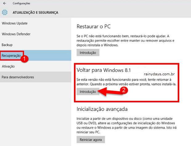 Reverter Instalação do Windows 10