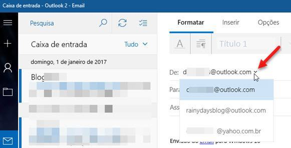 selecionar aliases do Outlook no Email Windows 10
