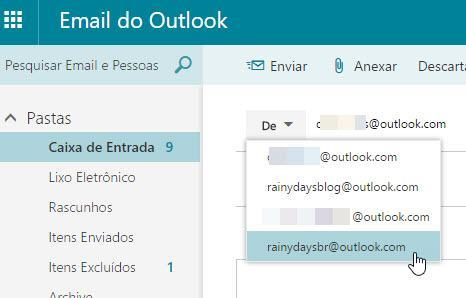 selecionar aliases no Outlook