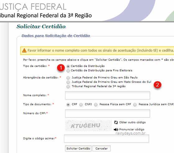 Tirar certidão negativa da Justiça Federal 3ª Região