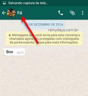toque no nome do contato WhatsApp