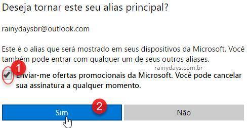 tornar alias o email principal da conta Microsoft