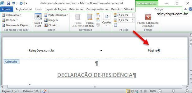 adicionar página X de Y no Word usando Campos