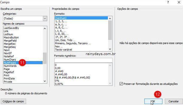 adicionar página X de Y no Word usando Campos 5