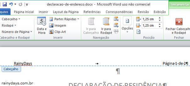 adicionar página X de Y no Word usando Campos 6