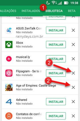 Biblioteca ícone X remover app da lista Google Play
