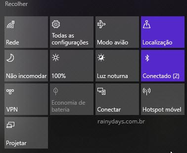 Botões ações rápidas Central de Ações Windows