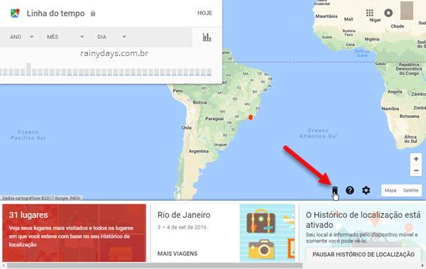 Apagar histórico de localização do Google Maps