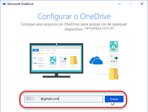 Configurar o OneDrive no dispositivo