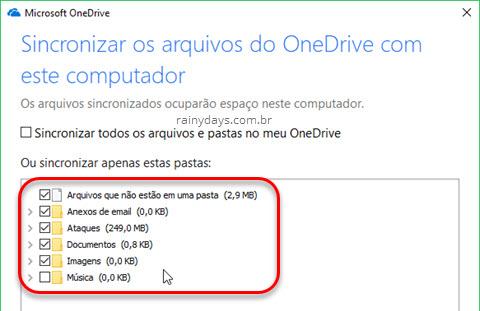 Configurar OneDrive para sincronizar pastas específicas