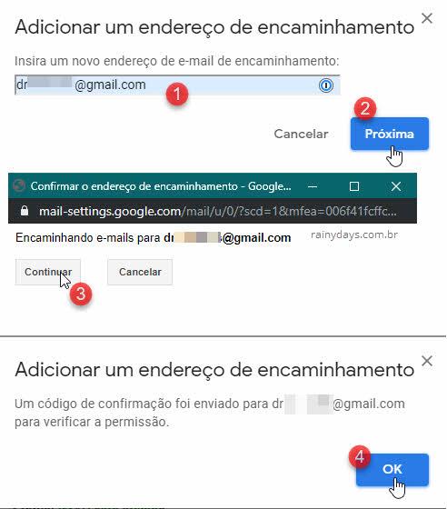 Digitar email de encaminhamento Continuar e Ok Gmail