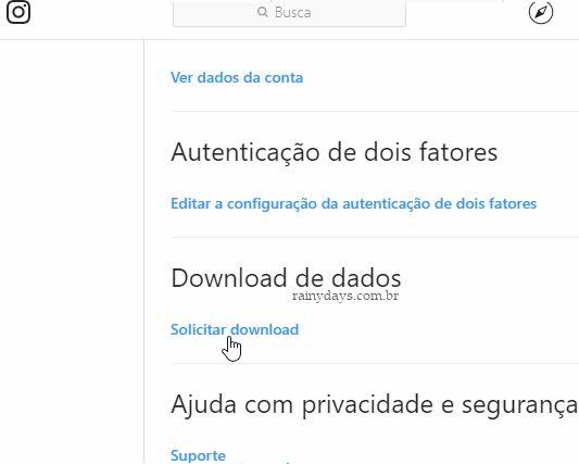 Download de dados Solicitar download Instagram fazer backup das contas