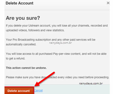 Excluir conta do Ustream IBM Cloud Video