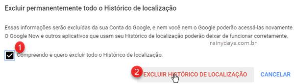 Excluir permanentemente todo histórico de localização Google Maps