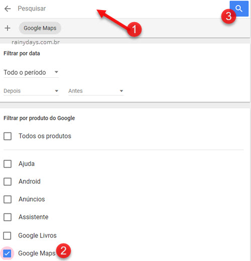 Filtrar atividade do Google Maps para apagar do Google