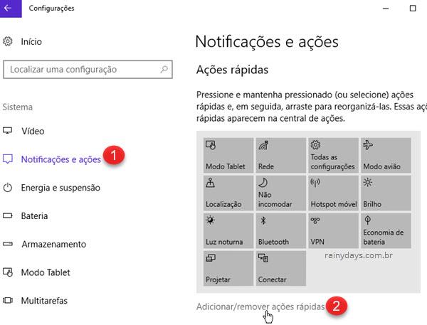 Modificar ações rápidas da Central de Ações Windows