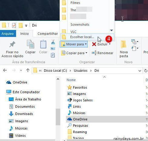 Mudar local de salvamento do OneDrive 2