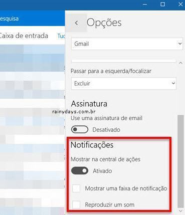 notificações do app email Windows 10