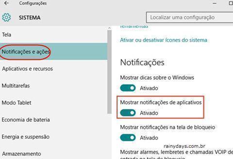 notificações e ações do Windows 10