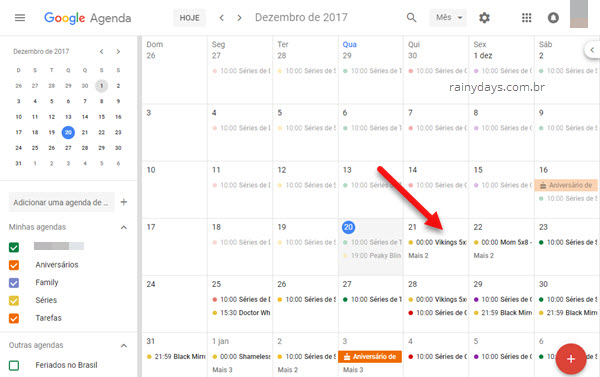 Adicionar calendário de séries na Google Agenda