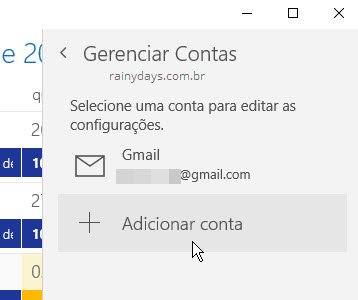 Adicionar conta Calendário Windows