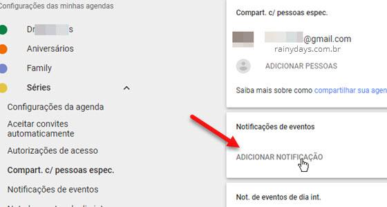 Adicionar notificação de evento Google Agenda
