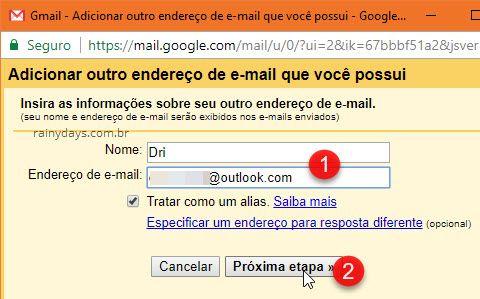 Adicionar outro endereço de email que possui Gmail
