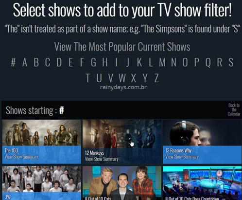 Adicionar séries no TV Calendar calendário de séries