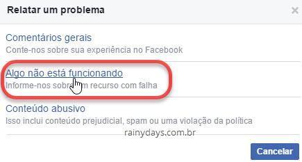 Algo não está funcionando Facebook