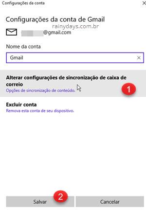 Alterar configurações de sincronização de caixa de entrada Gmail Windows