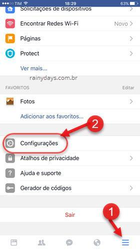 botão três traços Facebook app configurações iPhone