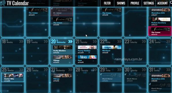 calendário de séries no TV Calendar