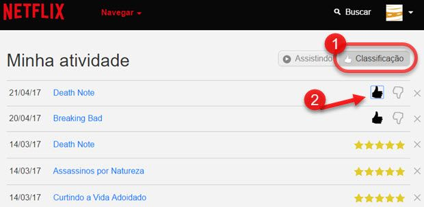 Como apagar classificações no Netflix