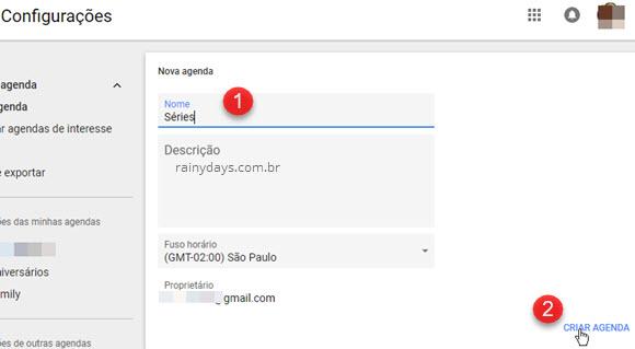 Configurações Nova Agenda criar Google Agenda
