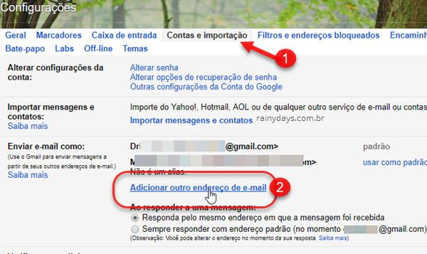 Contas e importação Adicionar endereço no Gmail