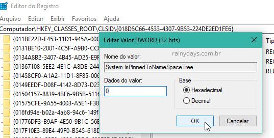 Dados do Valor System.IsPinnedToNameSpaceTree Registro Windows